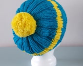 Blue Beanie Hat - Yellow Stripe Knitted Slouchy Pom Pom Chunky Merino Wool Unisex Winter Accessory Gift for Him Her by Emma Dickie Design