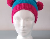Blue Double Pom Pom Hat - Pink Knitted Beanie Merino Wool Unisex Winter Accessory Gift for Him Gift for Her by Emma Dickie Design