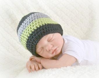 Crochet Baby Boy Beanie Newborn to 5T Hat Pistachio/Heather Grey/Black - MADE TO Order