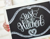 "Art print - Wedding - 11x14"" Just Hitched - Getaway car"