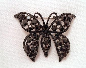 Vintage WEISS Butterfly Brooch Black Rhinestone Jewelry