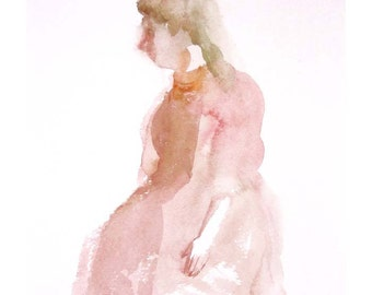 Woman painting pink portrait original watercolor people figurative