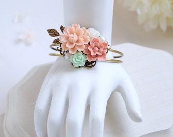 Pink Mint Green Flower Bracelet Mint Green Wedding Jewelry Pink Wedding Bracelet Leaf Bracelet Bridesmaid Bracelet Bridal Cuff Bracelet
