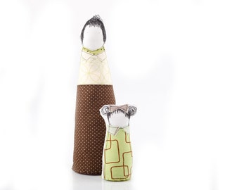 Soft sculpture family - Chic Mother and daughter,dressed in geometric sage green and brown , fabric handmade eco dolls for her