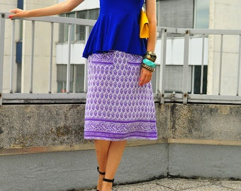 vintage midi A-line lightweight summer skirt with pockets in violet and lilac stylized floral pattern