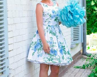 Custom made bridesmaid dress, Vintage Inspired dress, floral dress, Blue roses dress