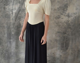 1950s Black and White Rayon Dress