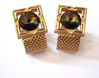 Watermelon Rivoli Mens Cuff Links, Wrap Around Gold Mesh Mens Jewelry Accessory