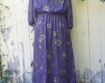 "plum blossom """" sheer vintage midi dress"