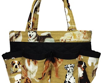Dogs Bingo Bag // 8 Pockets // Great for Craft and Makeup Organizer