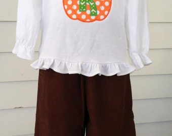 Custom Personalized Girls Fall Pumpkin Appliqued Outfit with Monogram Initial. Brown Corduroy Ruffle Pants and Ruffle Shirt