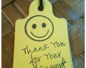 Smiley Face Bake Sale Fundraiser Thank You Tags 25pc Handmade THANKS For Your SUPPORT  Yellow Black Original 80s Retro Don't Worry Be Happy