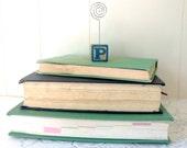 Wooden Alphabet block/ Letter P/ Letter K wire photo holder/ rustic picture holder
