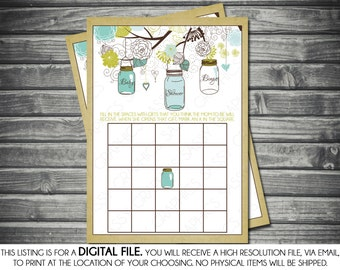 Instant Download Boy Baby Shower Bingo Card - Mason Jar, Green, Blue, Printable, Digital