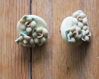 Vintage 80's Pale Yellow Handmade Porcelain Rose Earrings