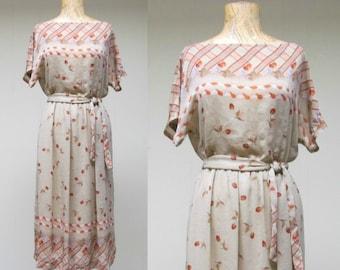 Vintage 1970s Dress / 70s Beige Semi Sheer Cherry Print Dress / Medium