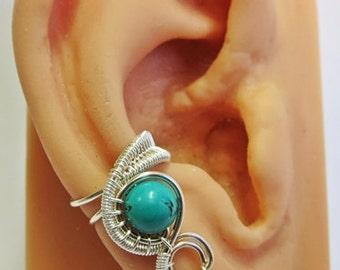 Turquoise & Silver Woven Gemstone Ear Cuff