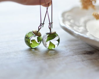 Fern earrings - terrarium jewelry, fern terrarium, pressed leaves, nature jewelry, maidenhair fern, eco resin jewelry