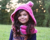 Hooded Cowl with Pom pom, Girl Hat, chunky button up scarf with hood for boys and girls, Boy Hat,custom colors, child tween teen adult
