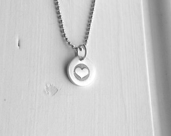Small Heart Necklace, Hand Stamped Heart Necklace, Sterling Silver Heart Necklace, Heart Pendant, Heart Charm, Charm Necklace, Heart Jewelry