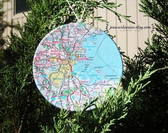 Custom Handmade Map Circle Ornament