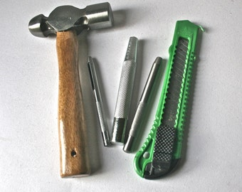 SaLe - Mini Craft Tool Kit with Hammer, Hole Punches, Eyelet Setter and Knife for Crafting