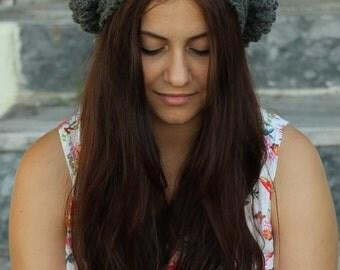 Crochet Beret for Women, Grey winter beanie hat for Women, Grey winter beret