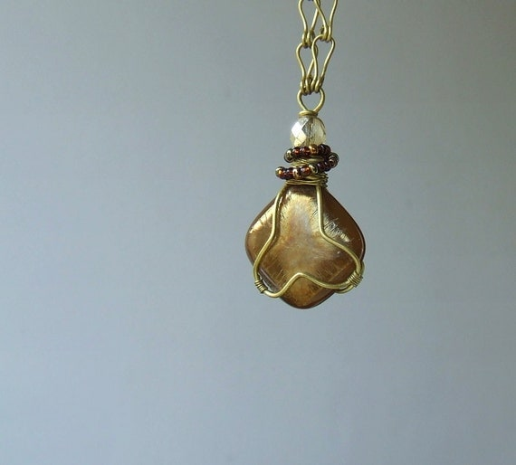 Brown brass necklace, golden brass jewelry, caramel iridescent fused glass pendant