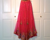 Indian Skirt Maxi Skirt from India Diwali Vintage Shocking Pink Gold Sequins Beads Metallic Embroidery Festival Of Lights FREE US Ship