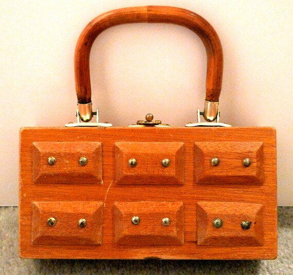 Vintage Gary Gails Wood Box Bag Wooden Purse Brass Nail Head Geometric Style 60s 70s Hong Kong Sculptural Purse 1970s