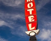Jade Palace Motel Sign - Retro Home Decor - Red Green and Blue Wall Art - Guest Bedroom Decor - Typography - Fine Art Photography