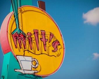 Milt's Coffee Shop - Vintage Neon Sign Art - Bakersfield - Road Trip - Historic Highway 99 - Neon Coffee Cup - Fine Art Photography