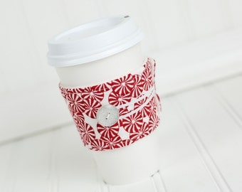 Coffee Sleeve Cozy Pepperming Candy Print Red and White Unisex Reusable Cup Cover Great for Ugly Christmas Sweater Party