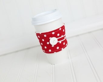 Fabric Coffee Sleeve Red White Polka Dot for Women Girls Gals, Cuff Cozy