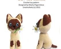 Guv the Kitten - pdf crochet toy pattern - siamese cat amigurumi pattern