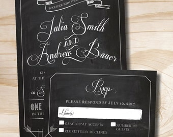 VINTAGE BLACKBOARD Chalkboard Poster Wedding Invitation and Response Card Invitation Suite