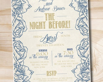 THE NIGHT BEFORE Poster Rehearsal Dinner Invitation - Printable digital file or printed invitations