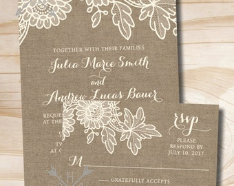 Burlap and Lace Rustic Vintage Wedding Invitation and Response Card Invitation Suite