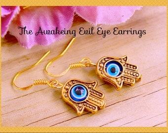 The Hansa Earrings   Hand Evil Eye Earrings Symbol Unisex  Earrings,  Zen, Meditation,  Namaste,Hindu, Buddha , By: Tranquilityy