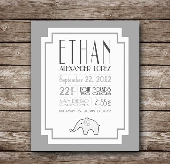 Birth Announcement - Baby Boy - Custom Printable