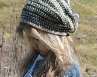 CROCHET PATTERN-The Greylin Slouchy (Toddler, Child, and Adult sizes)