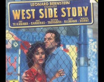 West Side Story Conducted by Leonard Bernstein, Kiri Te Kanawa, Marilyn Horne, Deutsche Grammophon 2 LP Boxed DGG Vintage Digital Record
