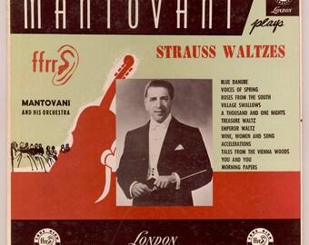 Mantovani and his Orchestra Mantovani Plays Strauss Waltzes, Blue Danube, Vienna Woods etc Vintage Vinyl Record Album - 1953 London LP LL685