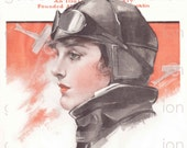Vintage Aviatrix - Saturday Evening Post - print up to 11 x 14 - Vintage Art Digital Download