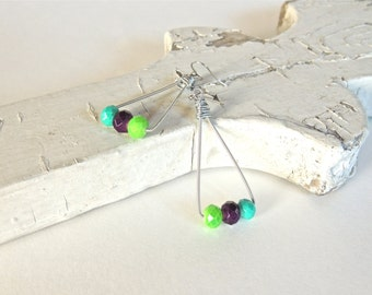 GUITAR STRING EARRINGS - silver, aqua, lime, purple - teens and adults - eco-friendly/upcycled jewelry - under 20.00