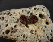 Round Stud / Post Earrings w/ Tree engraving - Cocobolo Wood - Small - brown/orange/red