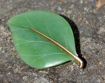 Gump's 1920's 14K Gold Jade Leaf Brooch