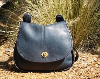 1970's Authentic Coach Blue Leather Crescent Saddle Bag