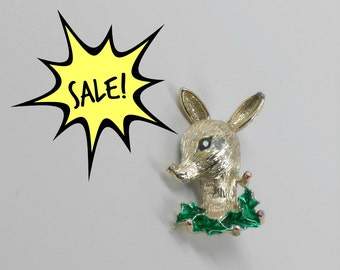 SALE! Vintage Brooch/Pin -Gold tone Deer with Green Eyes and Holly Collar signed Gerrys