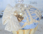 Pincushion - Vintage Inspired with Decorative Pins - Cream Doily